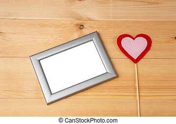 Valentines day heart and blank photo frames