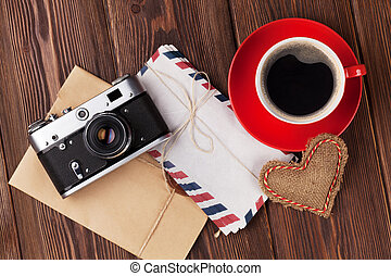 Valentines day heart, camera, coffee cup and letters