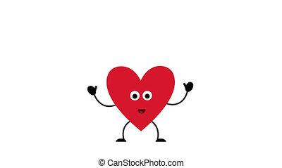 Valentine's day heart cartoon character joyfully jumps from happiness