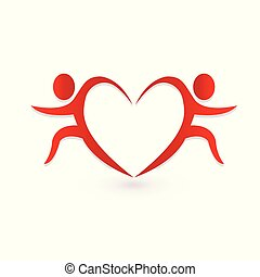 Valentine's day heart, couple people, logo vector icon