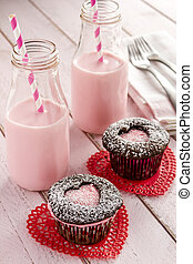 Valentines Day Heart Cutout Cupcakes - Two chocolate...