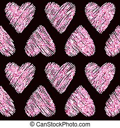 Valentine's Day Heart Glitter Pattern - Seamless Background - in vector