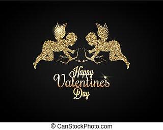 Valentines Day Heart. Gold angel Background.