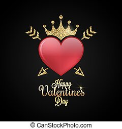 Valentines Day Heart. Gold lettering Background.