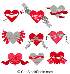 Valentine's Day Heart Labels, Tags, Ribbons, Frames - for scrapbook and design in vector