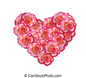 Valentines Day heart made of pink roses isolated on white background