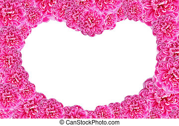 Valentines Day Heart Made of Pink Roses Isolated on White Background.
