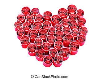 valentines day heart made of red paper fold isolated on white background