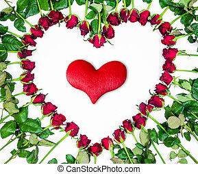 Valentines Day Heart Made of Red Roses and red heart Isolated on White Background.