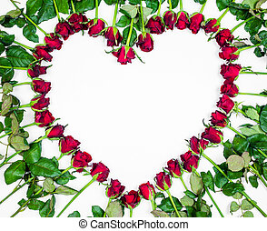 Valentines Day Heart Made of Red Roses Isolated on White Background.