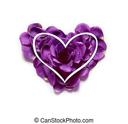 Valentines Day Heart Made of Roses Petals Isolated on White Background.