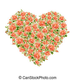 Valentines Day Heart Made of Watercolor Roses Isolated on...