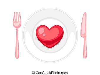 Valentines Day heart on plate with fork and knif. ...
