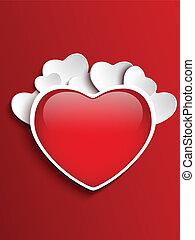 Valentines Day Heart on Red Background