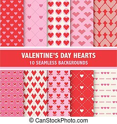Valentine's Day Heart Patterns - 10 Seamless Backgrounds - in vector