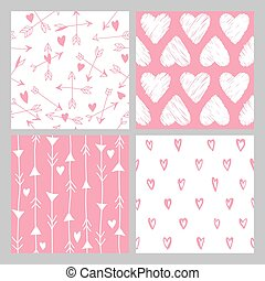 Valentine's Day Heart Patterns - 4 Seamless Backgrounds - in vector