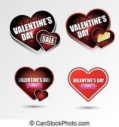 Valentines day heart sale label icon set