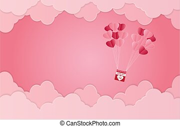 Valentine's day, heart-shaped balloon floating in the sky, pink background, paper art