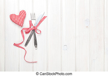 Valentines day heart shaped toy gift and silverware