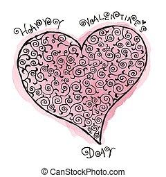 Valentine's Day, heart with arabesque pattern illustration