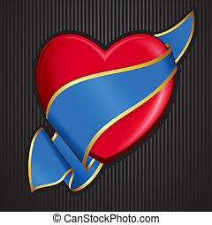 Valentine`s Day heart with blue rib