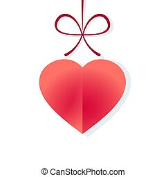 Valentine's day heart with bow, vector