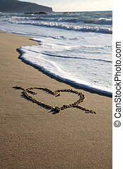 Valentine's Day heart with cross on the beach horizontal with sea going to canel it