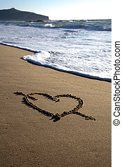 Valentine's Day heart with cross on the beach