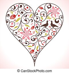 Valentines Day heart with flower and birds, element for...