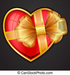 Valentine`s Day heart with transparent gold bow