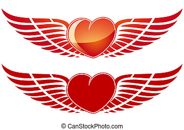 Valentine\'s Day Heart with wing isolated on white