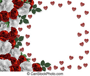 Image and illustration composition red and white roses design element for Valentine, Birthday party, wedding invitation background, border or frame with copy space.