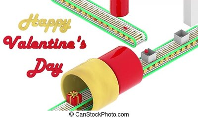 Valentine's day hearts are packed in gift boxes on conveyor. Catroon animation style