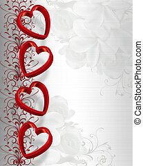 Illustrated red hearts on white satin for Valentines day card, wedding invitation border, frame or background with copy space.