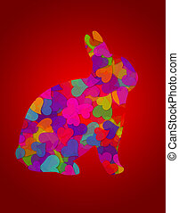 Valentines Day Hearts Bunny Rabbit Red Background