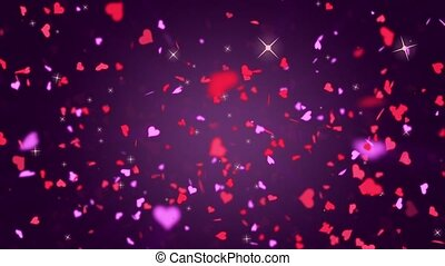 Valentines Day Hearts Falling. Background Looped video.
