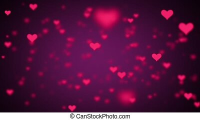 Valentines Day Hearts Flying. Background Looped video 2.