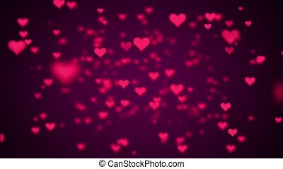 Valentines Day Hearts Flying. Background Looped video.