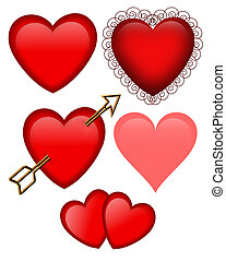Set of 5 Valentines Day Hearts graphics isolated on white for cards or stationery
