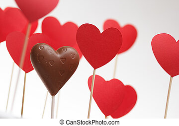 Valentine's day hearts on a stick with chocolate heart
