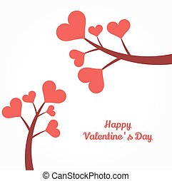 Valentine's Day hearts on branches