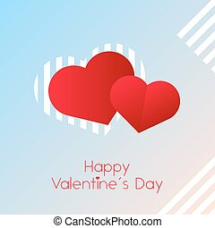 Valentines day hearts on light pink and blue background