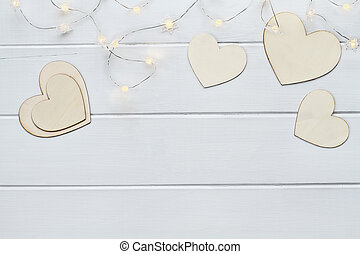 Valentines Day Hearts with Fairy Lights - Overhead view of...