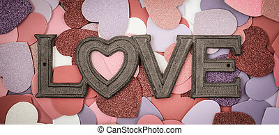 Valentine's Day Hearts with the word Love Text