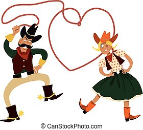 Funny cartoon cowboy and cowgirl dancing with a lasso in a shape of a heart, EPS 8 vector illustration