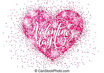 Valentine's day holiday banner with glitter pink heart and lettering. Template for a banner, poster, shopping, discount, invitation