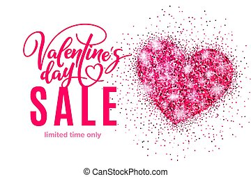 Valentine's day holiday sale banner with glitter pink heart and lettering. Template for a banner, poster, shopping, discount, invitation
