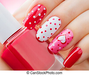Valentines Day holiday style bright manicure with painted...