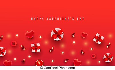 Valentines day horizontal background with border made of gift boxex, love shape and decor pattern on red background with congradilation text. Chic Greeting Card.