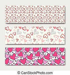 Valentines Day Horizontal Banner Set Decoration Background With Skecth Hearts